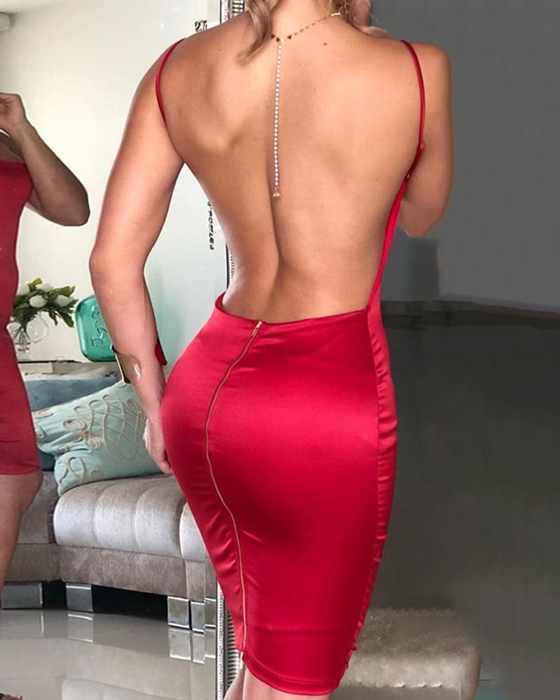 Open Back Spaghetti Strap Bodycon Dress