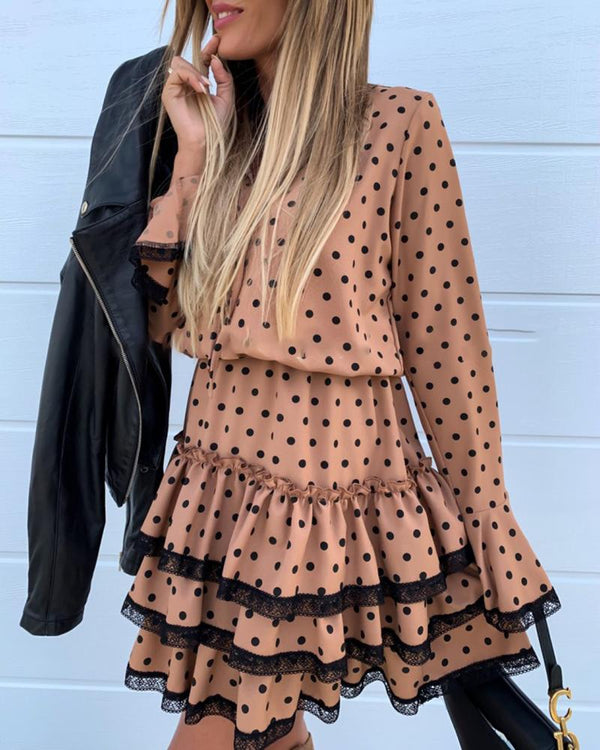 Dot Lace Patchwork Drawstring Design Pleated Dress