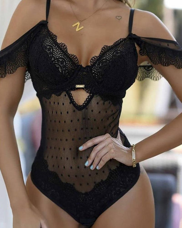 Lace Sheer Mesh Patchwork Bodysuit Teddies