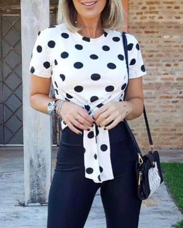 Dot Print Knotted Front Casual T-Shirt