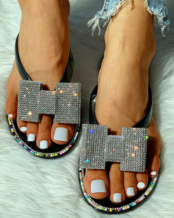 Toe Post Studded Flat Slipper