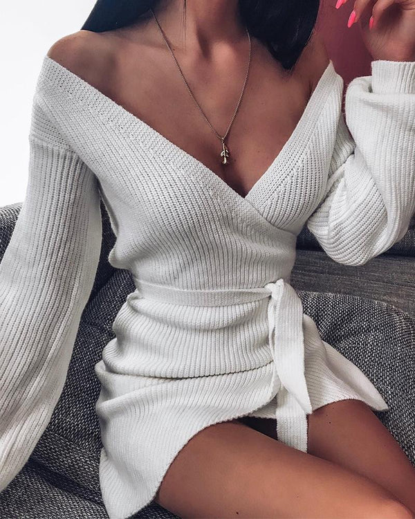 V Neck Ribbed Knit Sweater Dress