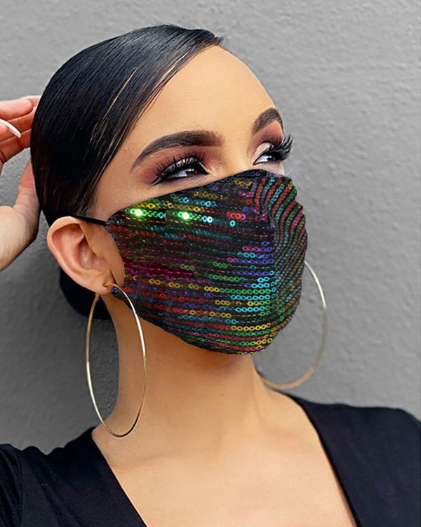 Sequins Colorblock Breathable Mouth Mask