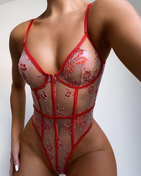 Floral Embroidery Sheer Mesh Contrast Binding Teddy