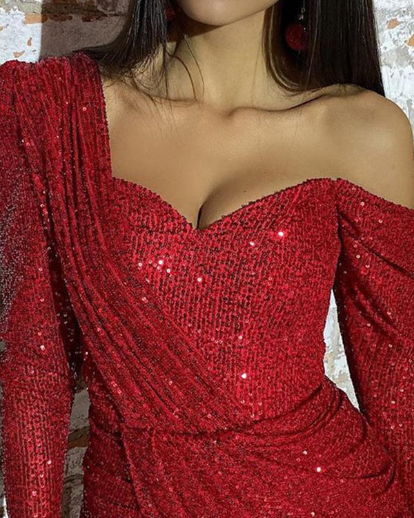 Sequined One Shoulder Ruched Dress