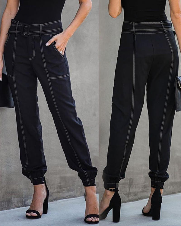 High Waist Striped Belted Pant