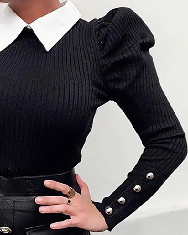 Buttoned Design Ribbed Puffed Sleeve Sweater
