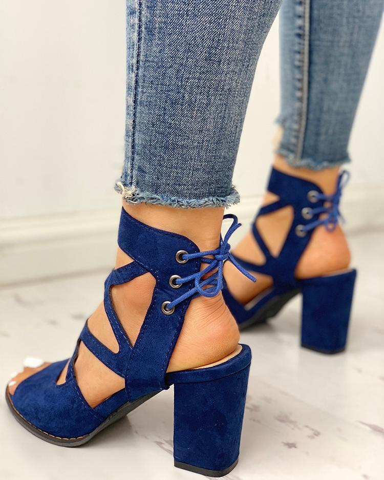 Peep Toe Crisscross Chunky Heeled Sandals