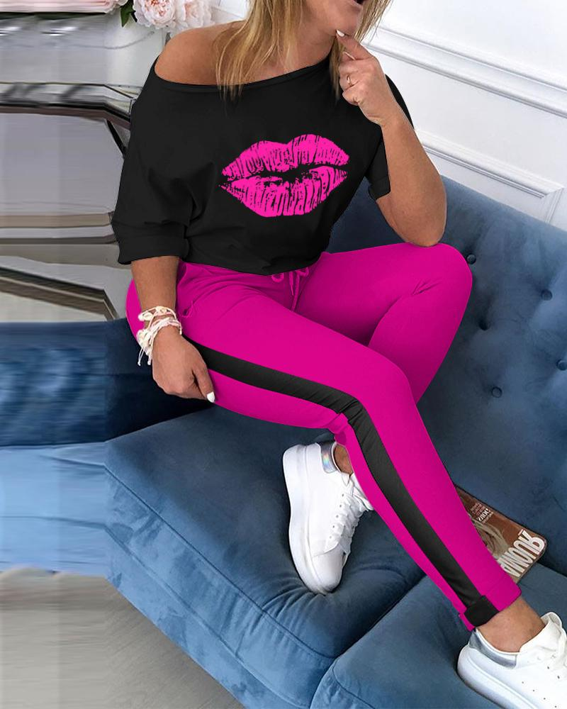 Lip Print Top & Colorblock Striped Pant Sets