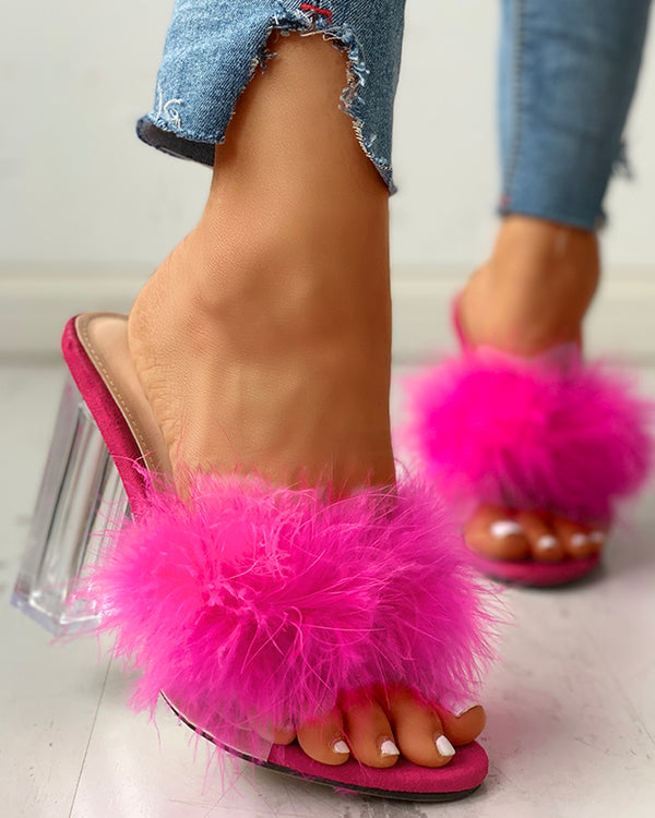 Fluffy Open Toe Transparent Chunky Heeled Sandals