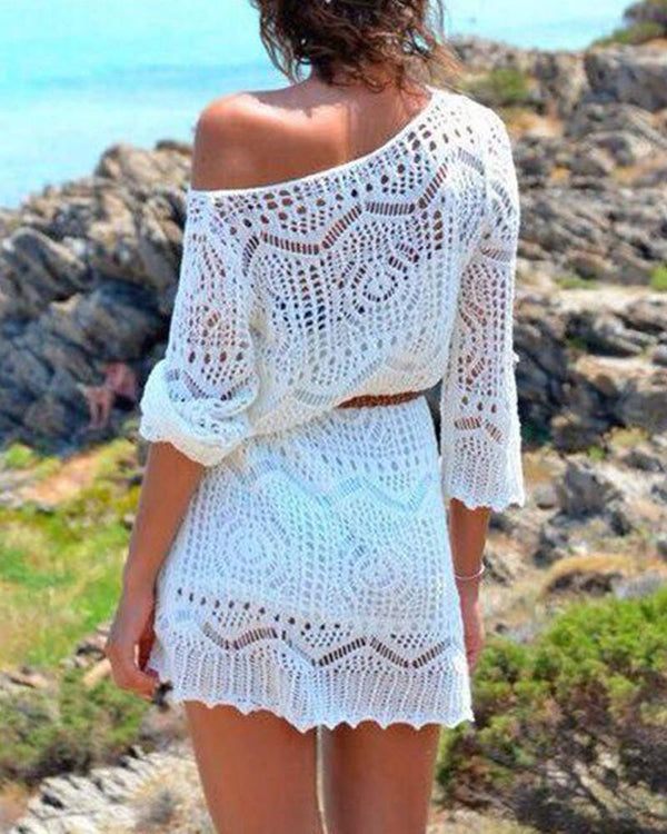 Crochet Off Shoulder Beach Cover Up