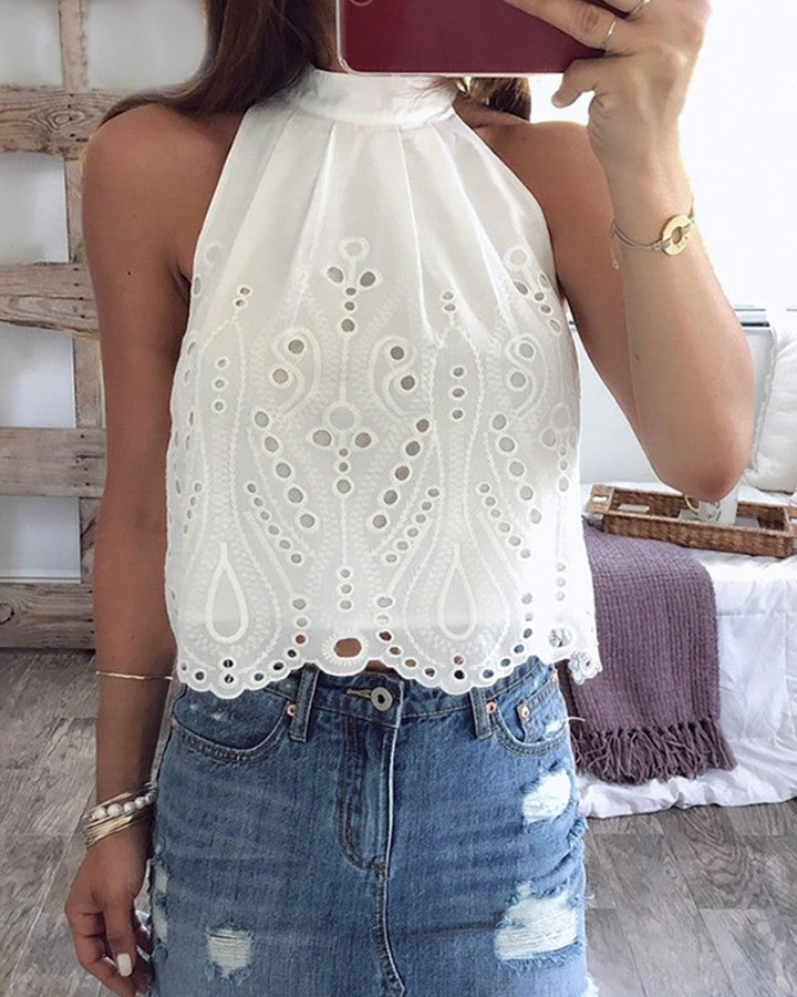 Dotted Hollow Out Tied Detail Casual Top
