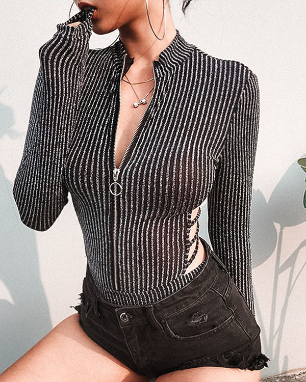 Striped Lace-Up Backless Zipper Bodysuit