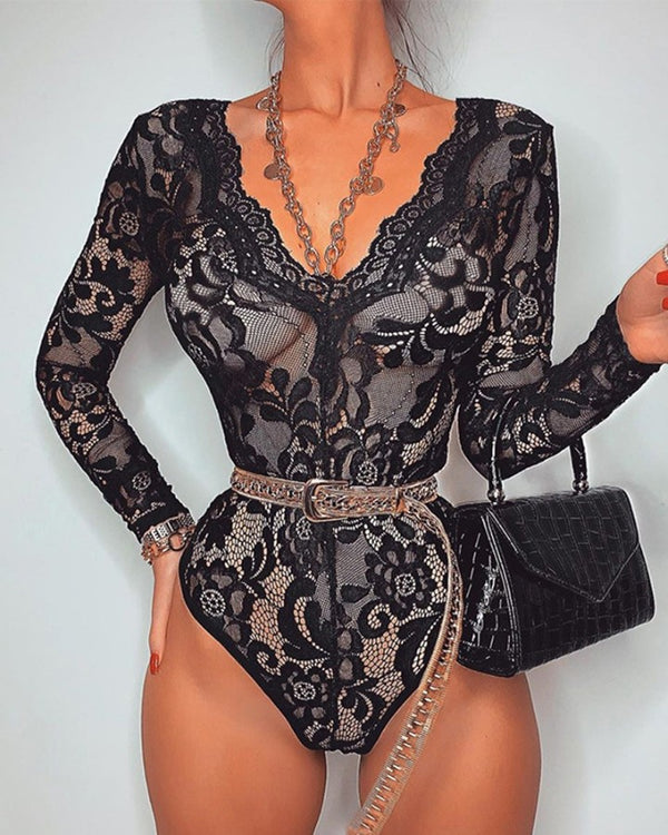 Long Sleeve Lace Pattern Bodysuit