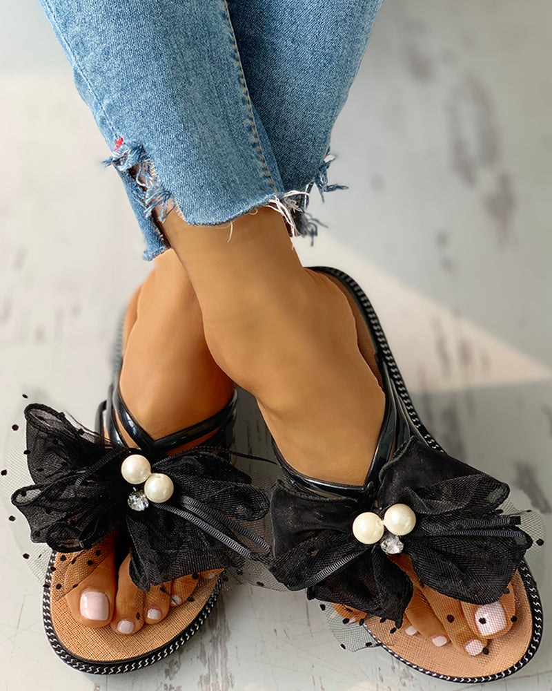 Beaded Multi-Strap Mesh Bowknot Flat Sandals