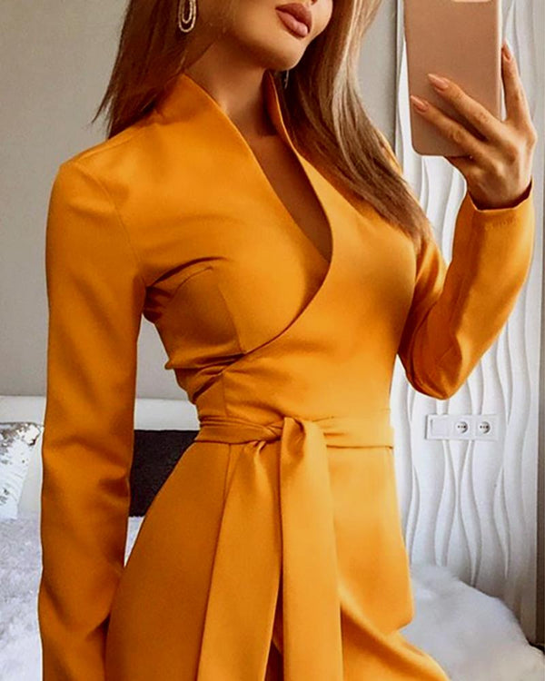 Solid Long Sleeve Tied Waist Slit Dress