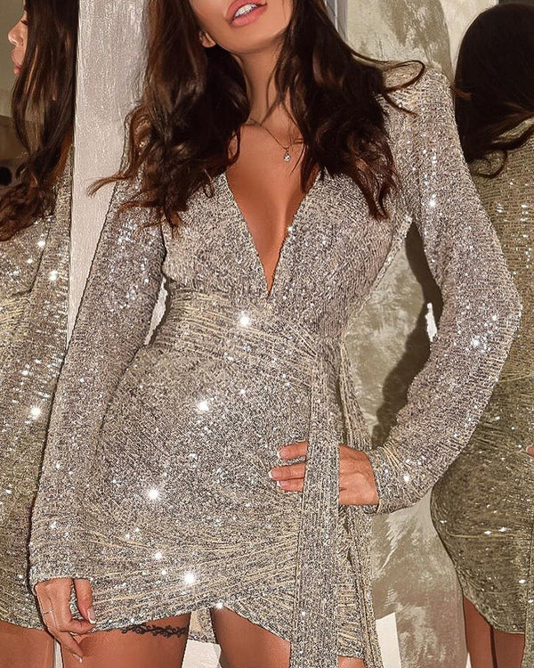 Deep V-Neck Sequin Bodycon Dress