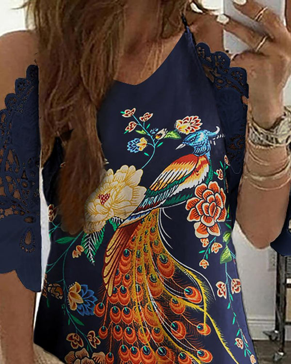 Peacock Floral Print Cold Shoulder Crochet Lace Dress