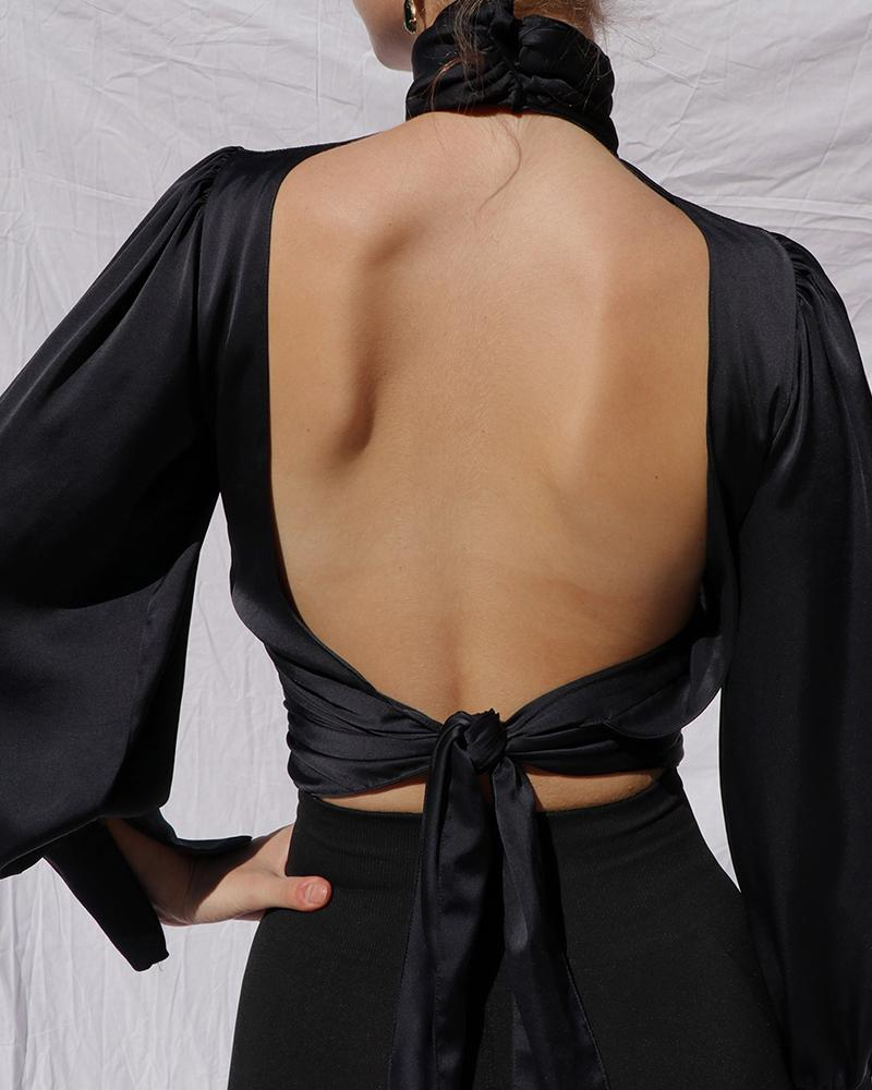 Keyhole Backless Long Sleeve Top