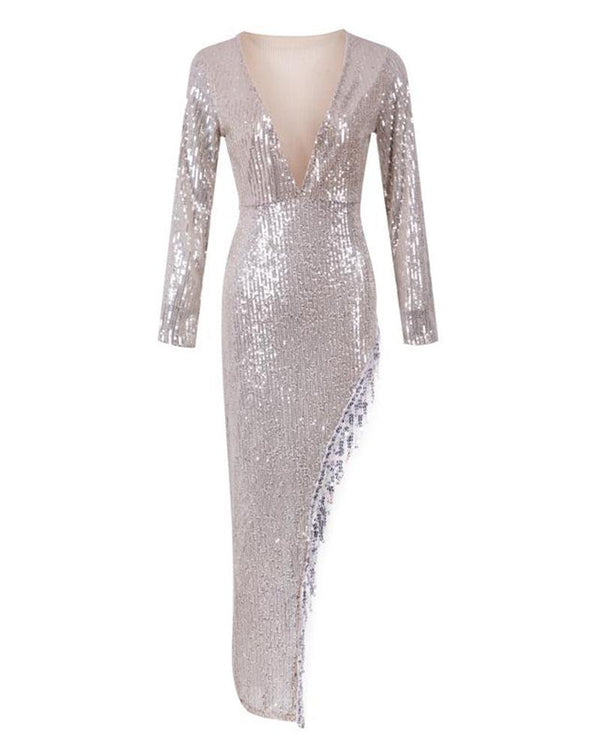 Deep V Sequined Asymmetric Dress