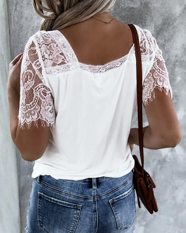 Eyelash Lace V-neck Short Sleeve Blouse