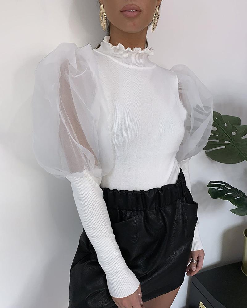 Solid Patchwork Mesh Puff Sleeve Blouse