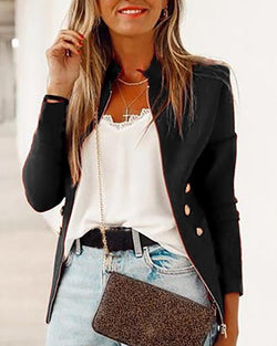 Solid Zipped Buttoned Detail Coat