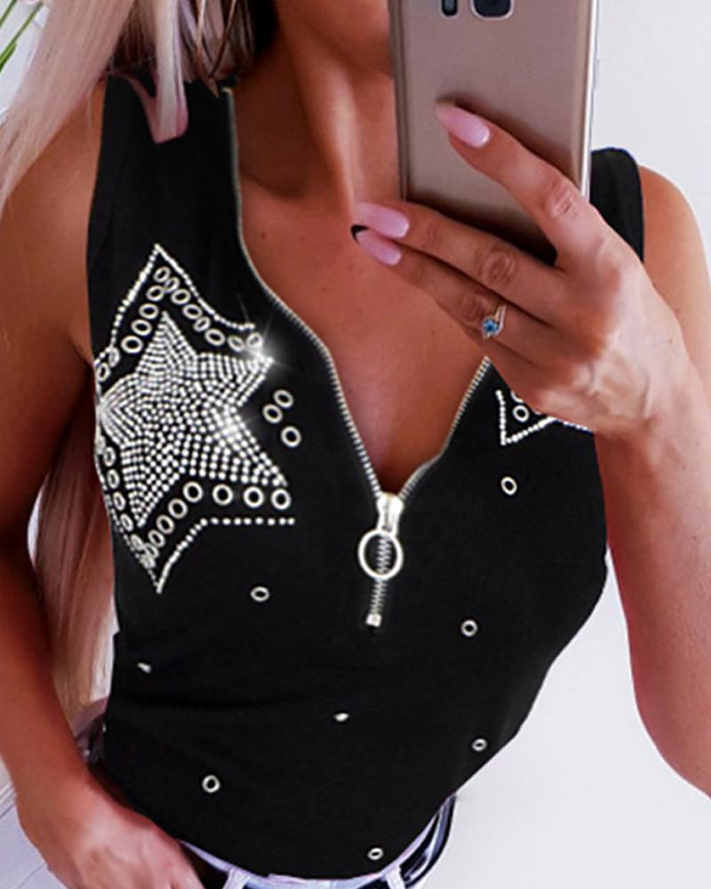 Studded Star Pattern Zipper Top