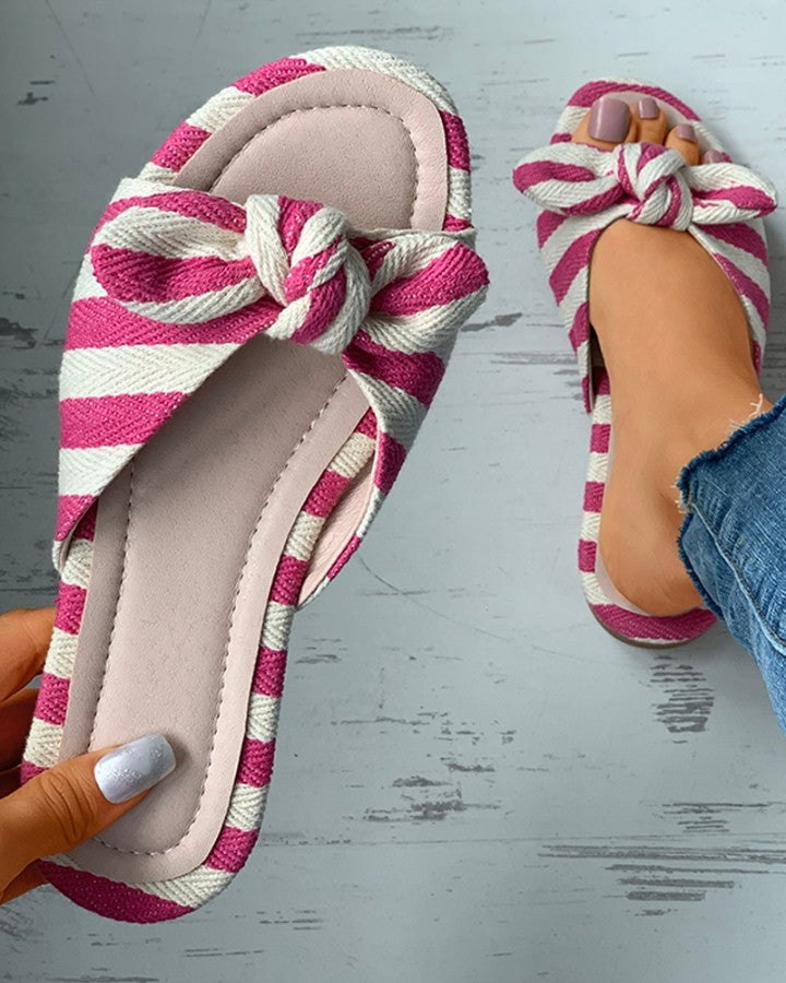 Ditsy Floral Print Striped Colorblock Bowknot Sliders
