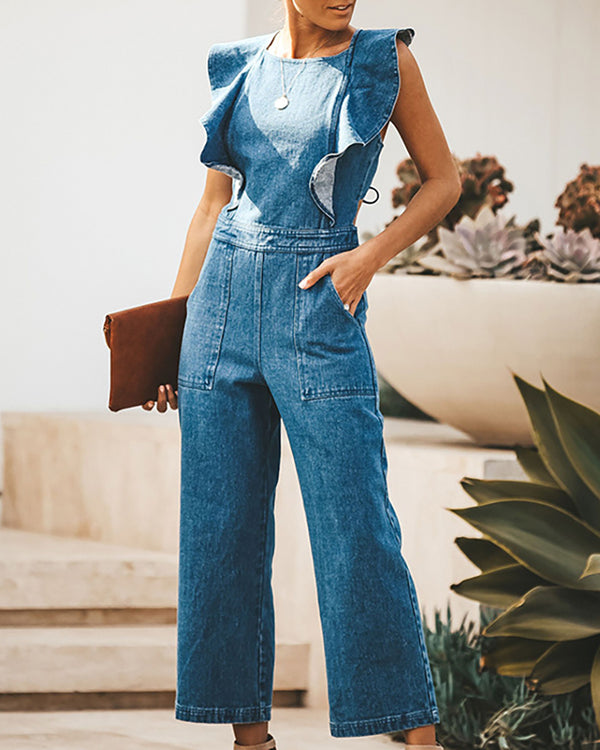 Ruffles Crisscross Backless Denim Jumpsuit