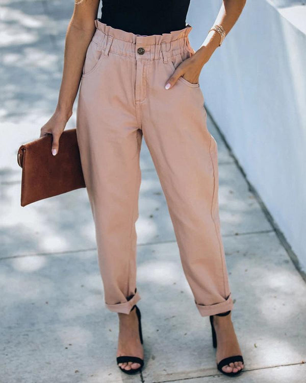 Solid Pocket Design Paperbag Waist Pants