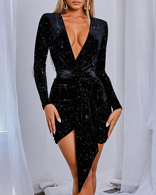 Plunge Ruched Irregular Sequins Dress