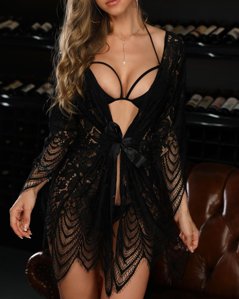 Sheer Lace Hollow Out  Babydoll Lingerie Sets