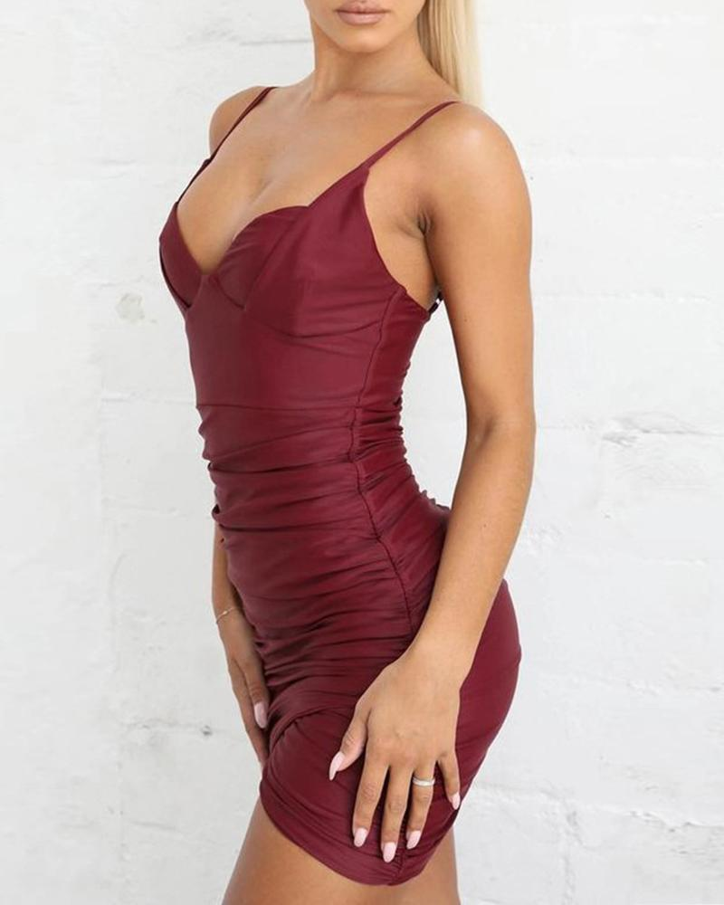 Ruched Spaghetti Strap Bodycon Dress