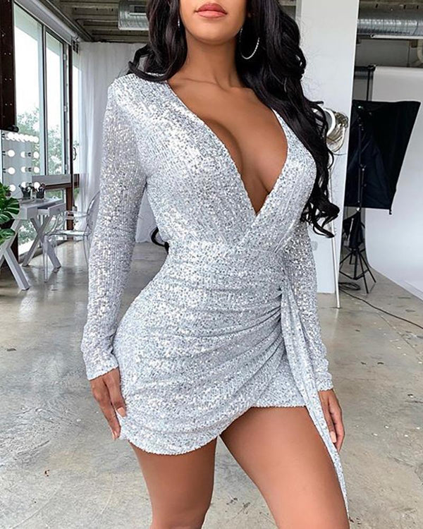 Sequins Long Sleeve Ruched Dress