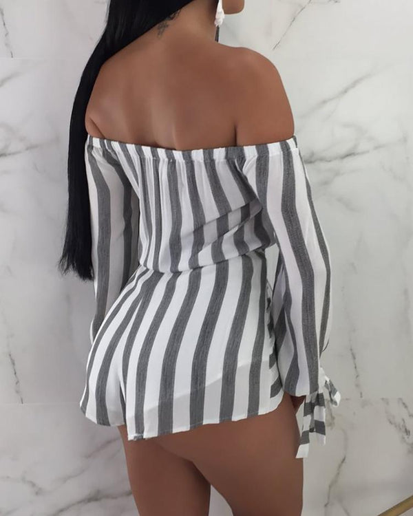 Sexy Off Shoulder Striped Belted Playsuit