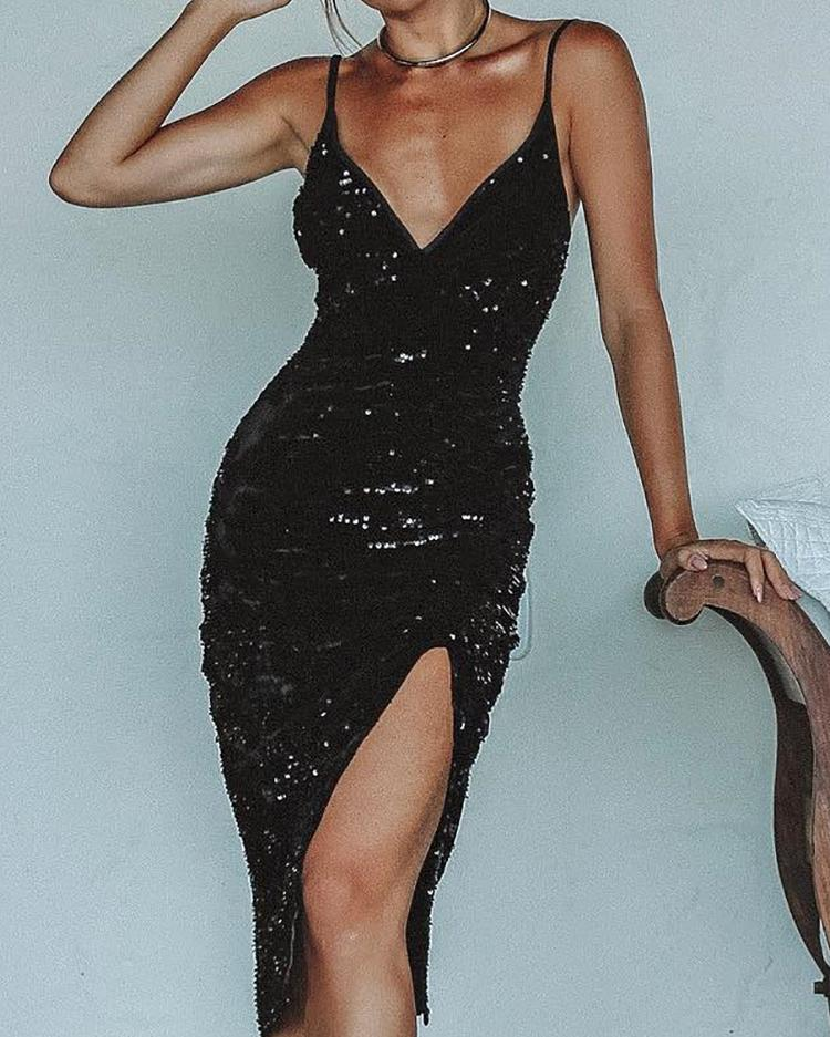 Deep V Thigh Slit Sequin Party Dress