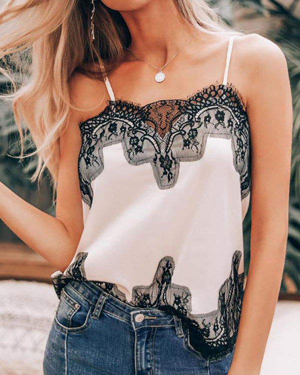 Eyelash Lace Stitching Sling Top