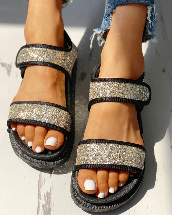 Sequins Velcro Design Open Toe Flat Sandals