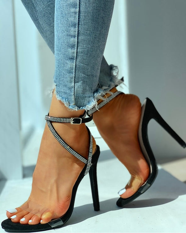 Studded Transparent Strap Thin Heels