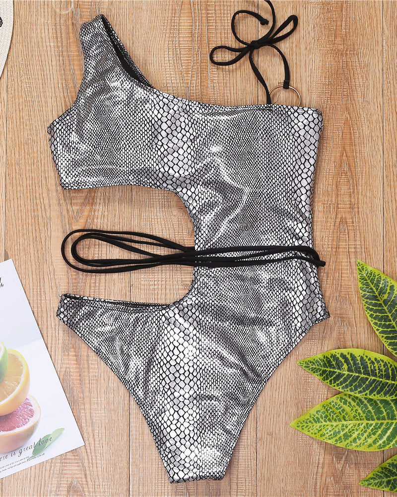 O-ring Design Snakeskin Cut Out Swimsuit