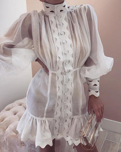 Lantern Sleeve High Neck Cutout Detail Dress