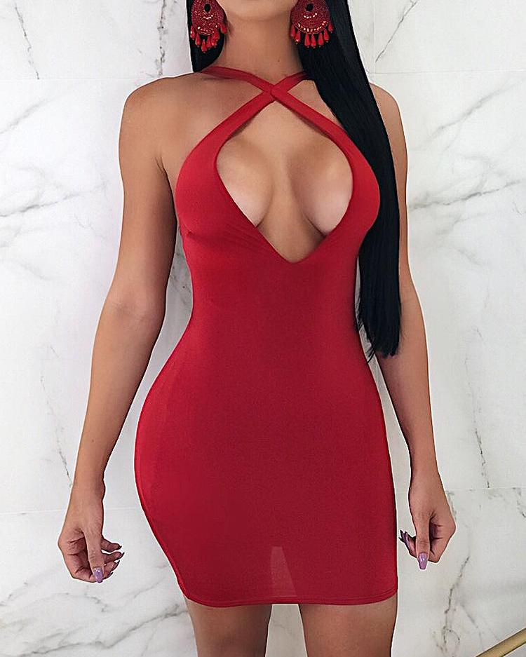 Halter Strappy Back Red Mini Party Dress