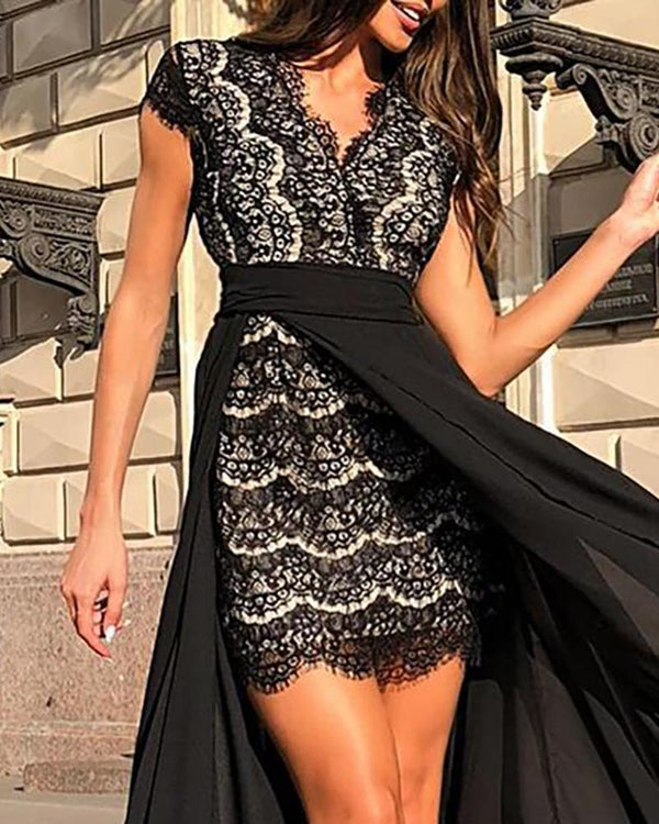 Lace Dress With Maxi Slit Skirt Sets