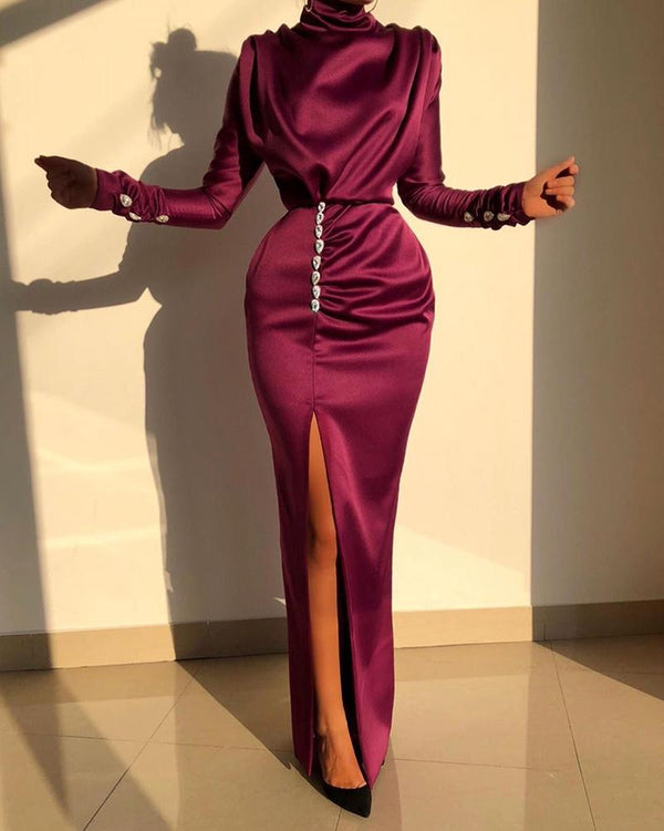 High Neck Ruched Thigh Slit Evening Dress