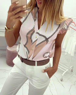 Chains Print Flutter Sleeve Casual Blouse