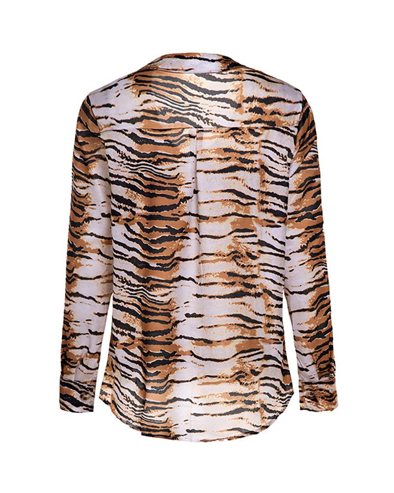 Zebra Pattern  Long Sleeve Shirt