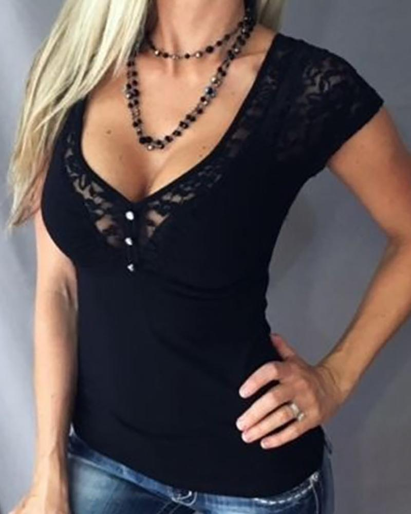 Mesh Lace Insert Short Sleeve Top