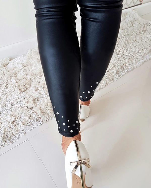 Faux Leather Beaded Design Pant