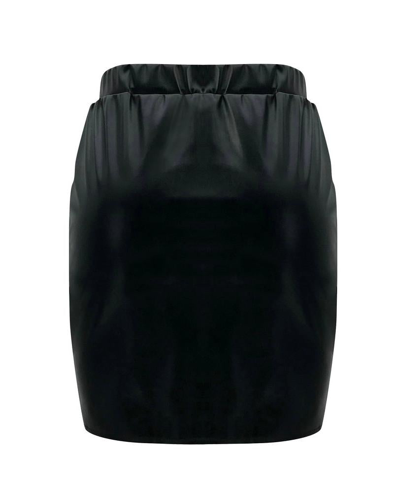 Button Design Ruched Slit Skirt